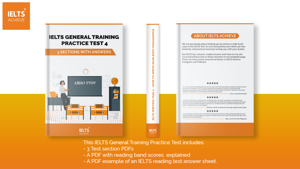 IELTS General Training Practice Test 4: 3 Sections with answers