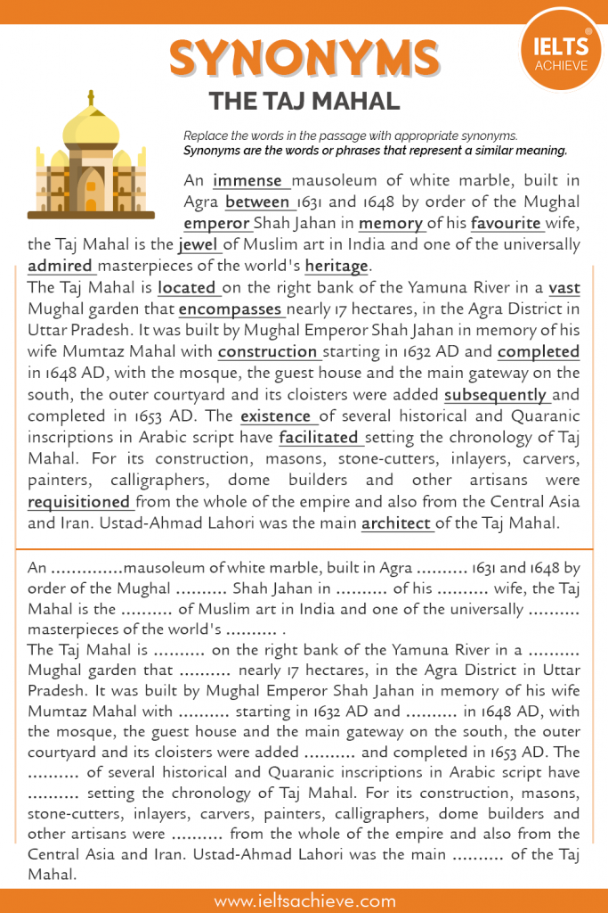 Taj Mahal Synonym Passage Worksheet