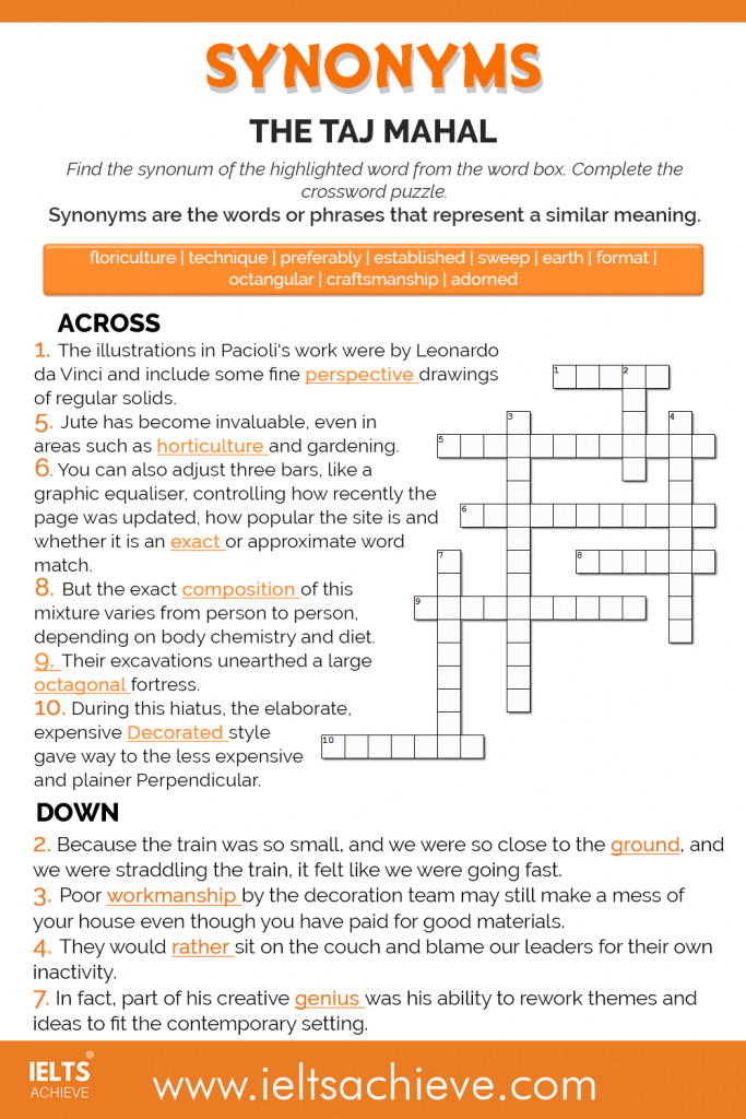 Taj Mahal Synonym Trivia Across and Down Worksheet.png