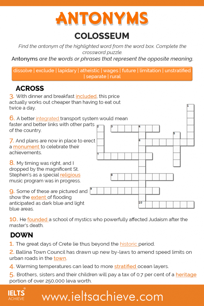 Colosseum Antonym Trivia Across and Down Worksheet